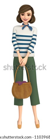 3D illustration character - A woman of the everyday wear guides you