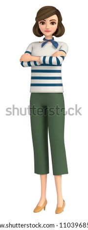 3D illustration character - A woman of the everyday wear is angry