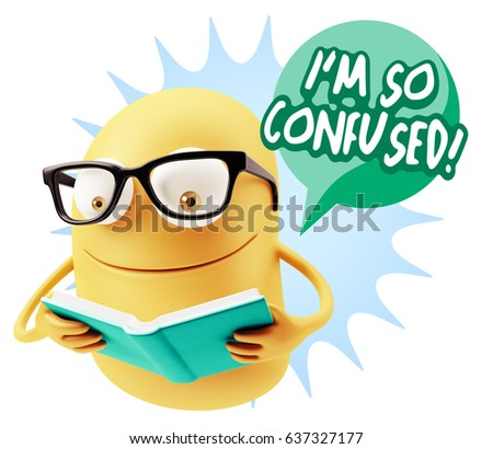3d Illustration Character Emoticon Intelligent Expression saying I'm so confused with Colorful Speech Bubble.