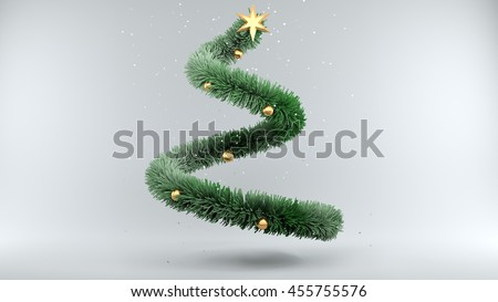 3d illustration Christmas Tree with Snow on gray Background