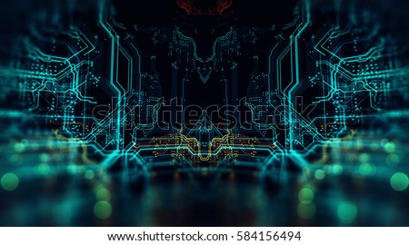 3d illustration. circuit board ...