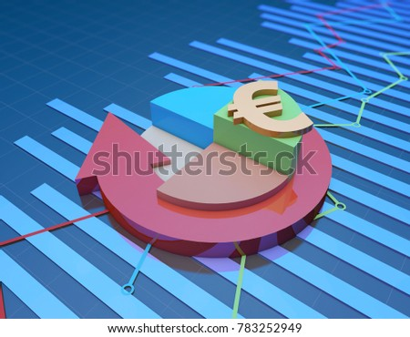 3D illustration,Circular arrows with pie chart, financial chart, stock market data, economic chart