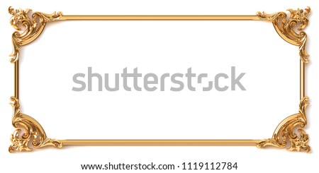 3d illustration. Classical decorative elements in Baroque style in the form of a rectangular frame. Holiday decor of gold elements isolated on a white background.Digital illustrations. Golden frame