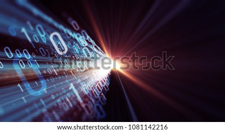 3D illustration. Color  bytes of binary code flying through a vortex, background code depth of field with lens flares/Binary code  background