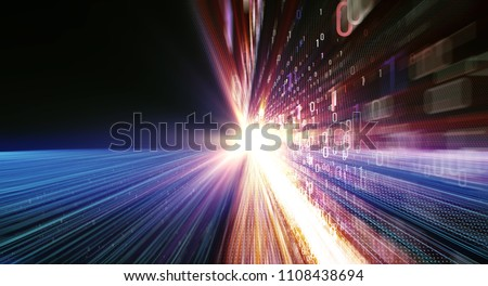 3D illustration. Color bytes of binary code flying through a vortex, background code depth of field and flares. Data transmission channel. Motion of digital data flow. Transferring of big data
