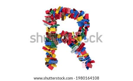3d Illustration colored building blocks typeface R Stock fotó ©