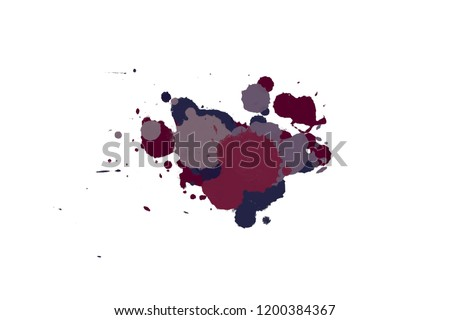 2d illustration. Colorful ink splashes. Paint splatters on bright material. Multi color dots. Watercolor on white paper. #1200384367