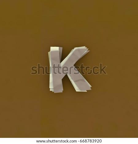 3D illustration colorful layer paper di-cut Alphabet , Letter K Stock fotó ©