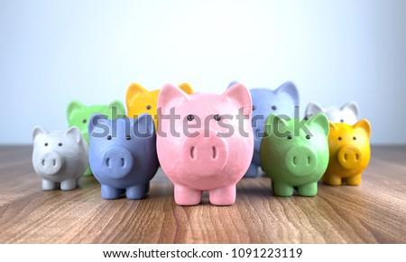 3D Illustration colorful piggy banks made of plasticine