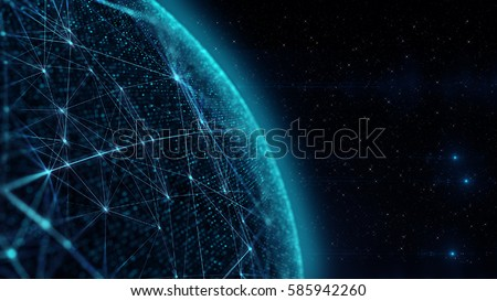 3D illustration. Communication of people in a social network without boundaries. Connection  lines Around Earth Globe/The concept of social network, uniting people around the globe.