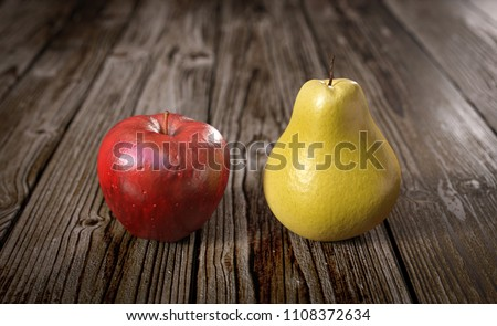 3D illustration comparing apple and pear Photo stock ©