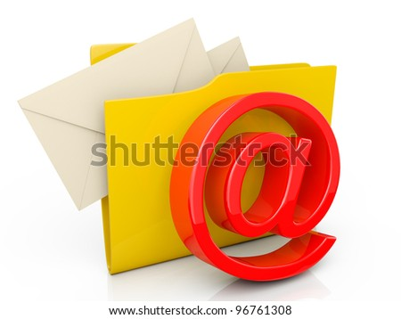3d illustration: computer folder icon mailbox on a white background