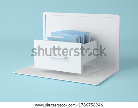 3D Illustration. Computer laptop and file cabinet with folders. Data storage concept. Business concept.