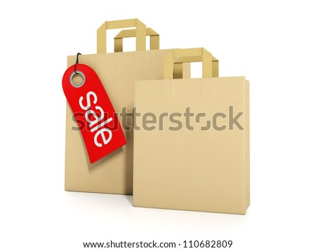 3d illustration: Concept for sale and purchase. Group of paper bags and label sales