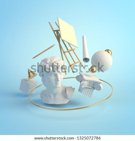 3d illustration concept of the Renaissance art, statue of David, Michelangelo, column, education, creative