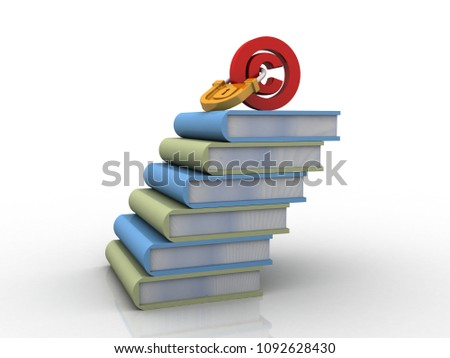 3d illustration copyright lock with book