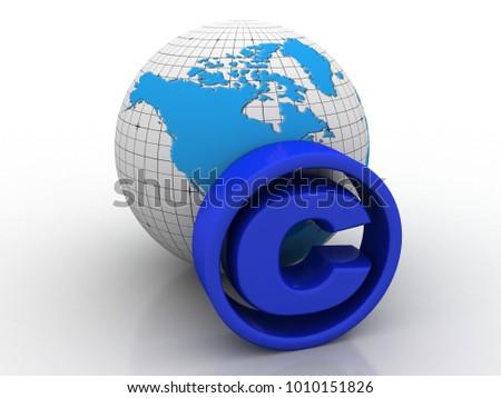 3d illustration copyright symbol concept