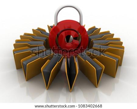 3d illustration copyright symbol concept with folder network