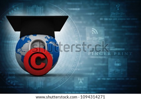 3d illustration copyright symbol concept with graduation