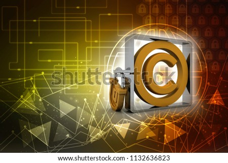 3d illustration copyright symbol concept with lock