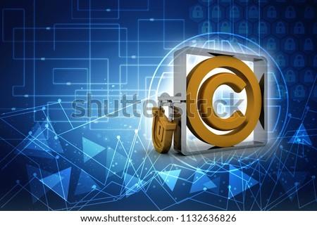 3d illustration copyright symbol concept with lock