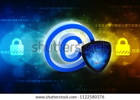 3d illustration copyright symbol concept with shield