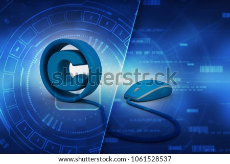 3d illustration copyright symbol connected mouse