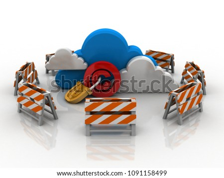 3d illustration copyright symbol lock with cloud computing
