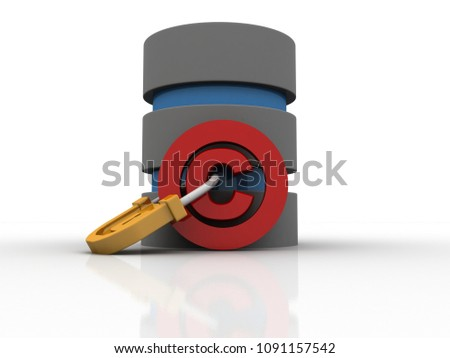 3d illustration copyright symbol with database concept
