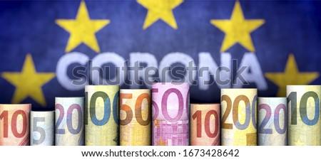 3D illustration, Coronavirus, money and EU