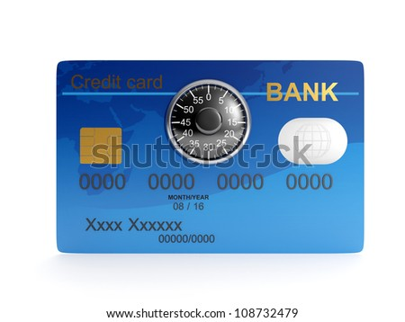 3d illustration: Credit card and combination lock. Protecting your money