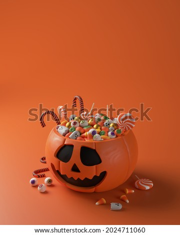 3D Illustration Creepy sweets and candies in pumpkin bucket  on orange backdrop. Halloween trick or treat party poster template. Halloween pumpkin basket full of candies and sweets.