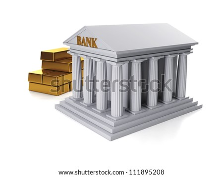 3d illustration: Custody of sredstv.Bank and a group of gold bars