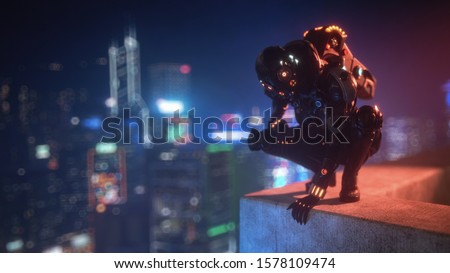 3d illustration cyborg female sitting on her haunches on the edge of the concrete roof of tall building looks down at the night city. Sci-fi girl in futuristic black armor suit with jet pack, helmet Сток-фото ©