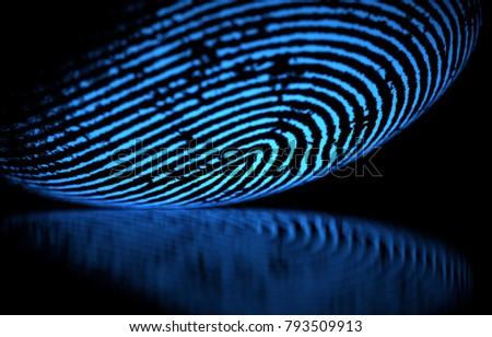 3D illustration. 3D holographic fingerprint on black background