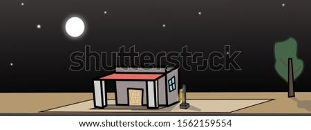 2d illustration 2d house image night