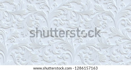 3 d illustration. 3 d panel. Volumetric white floral ornament with a shadow. Holiday background. White background with 3 d effect. Decorative panel. Texture with floral ornament. Render