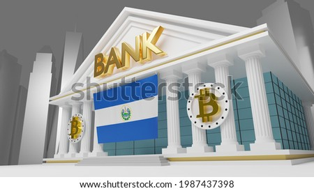 3d illustration - 3d rendered a bank with the bitcoin symbol and a city in the background. the name of the bank is in gold, The national flag of EL SALVADOR is on the front of the bank.  3d rendered Stok fotoğraf ©