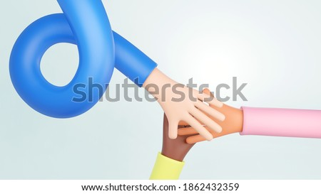3D illustration. 3D rendering. Cartoon character. Teamwork join hand together concept, Business team brainstorming and hands together, Volunteer charity work. People joining for cooperation business