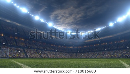 3D illustration/3D rendering of a sport stadium background made without existing references #718016680