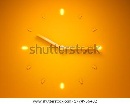 3D illustration 3D rendering of Backlit Orange clock time 10 o clock 15 minutes
