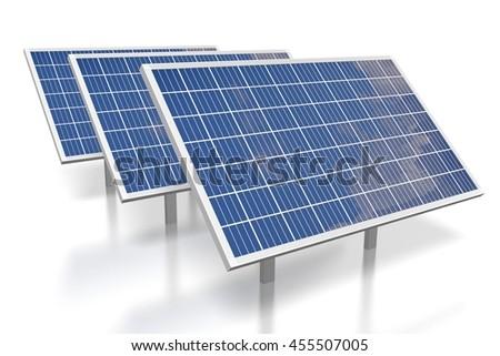 3D illustration/ 3D rendering - solar energy/ solar panels concept.