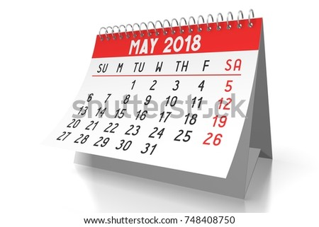 3d illustration 3d rendering table calendar 2018 may