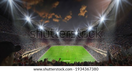 3D illustration, 3D representation, Soccer game in the stadium