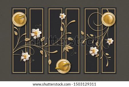 3d illustration, dark background with golden frames. Ornamental white flowers on golden branches, golden circles