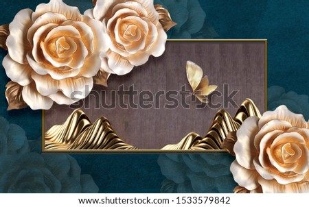 3d illustration, dark green background, large beige roses and a large beige butterfly, gold frame with golden waves