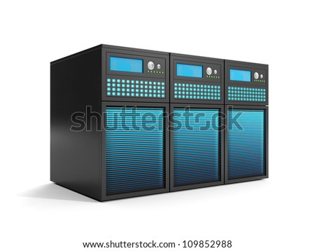 3d illustration: Data Storage, a group of servers in close-up