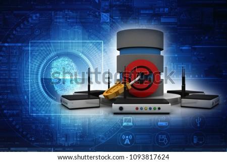 3d illustration database copyright symbol concept with lock