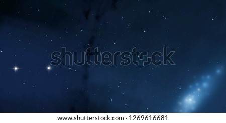 2d illustration. Deep interstellar space. Stars, planets and moons and comets. Various science fiction creative backdrops. Space art.