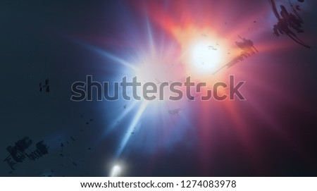 2d illustration. Deep vast space. Bright stars, planets, moons. Various science fiction creative backdrops. Space art. Alien solar systems. Distant space. Realistic background cosmos.